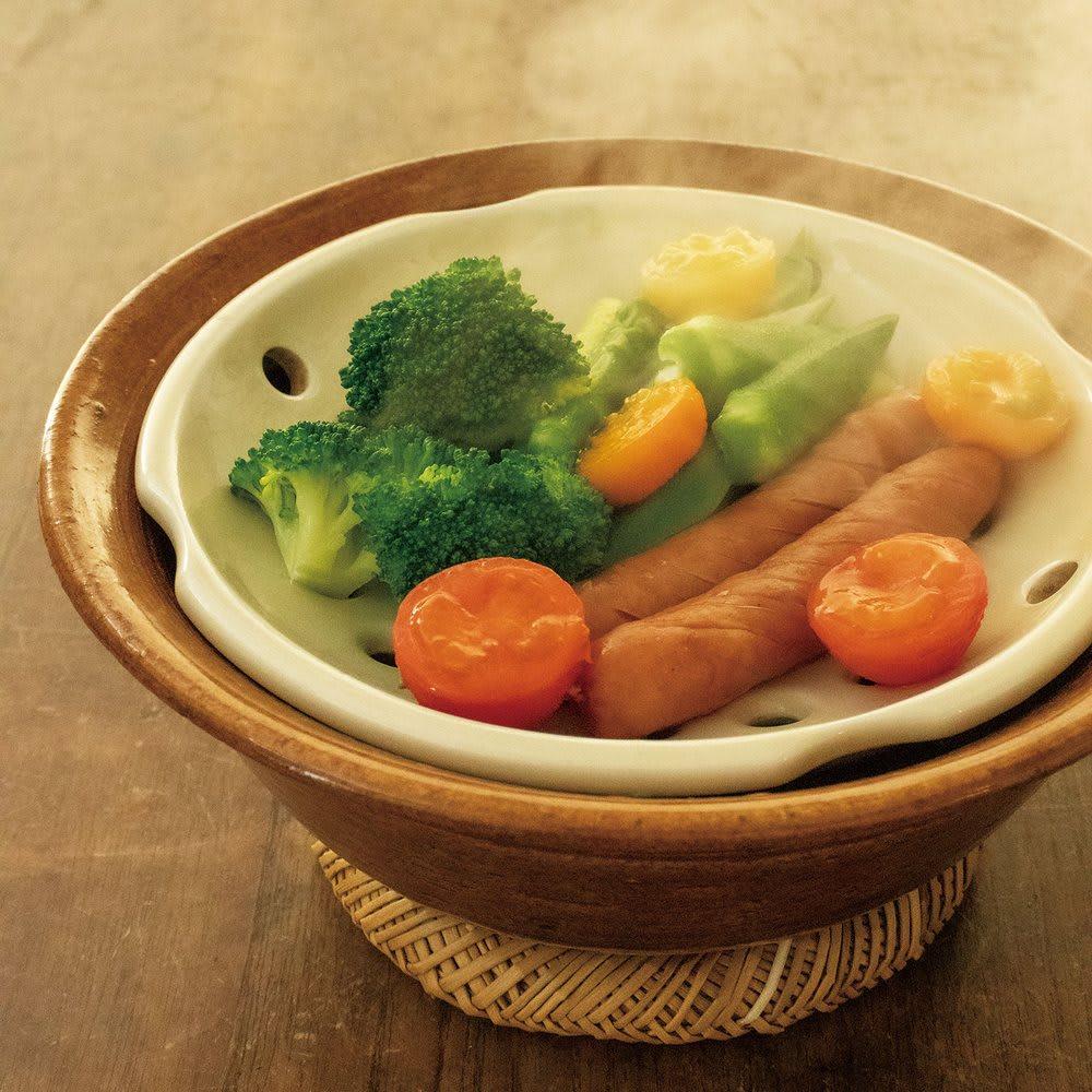 伊賀焼長谷園 蒸し小鍋 電子レンジ・オーブン・直火対応 アメ/キャラメル 和食器