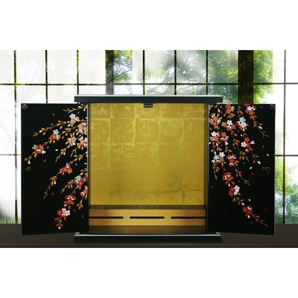 紀州塗 漆器ミニ仏壇 しだれ桜 仏壇・小 ブラック 仏壇仏具