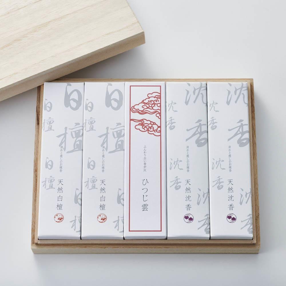 天然香木の桐箱進物 五箱香炉灰入り 仏壇仏具