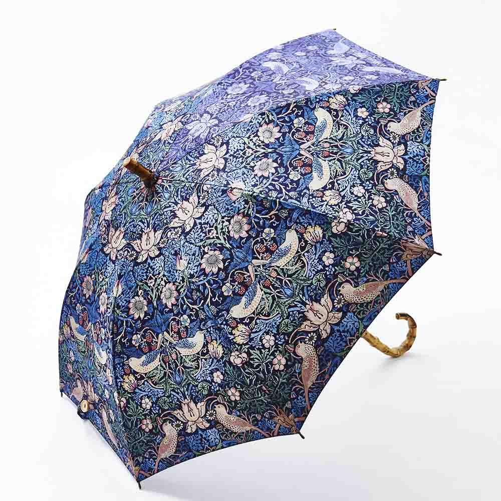 UVカット晴雨兼用長傘 ウィリアムモリス 雨の日も、晴れの日も使用できる晴雨兼用のショートタイプ長傘。