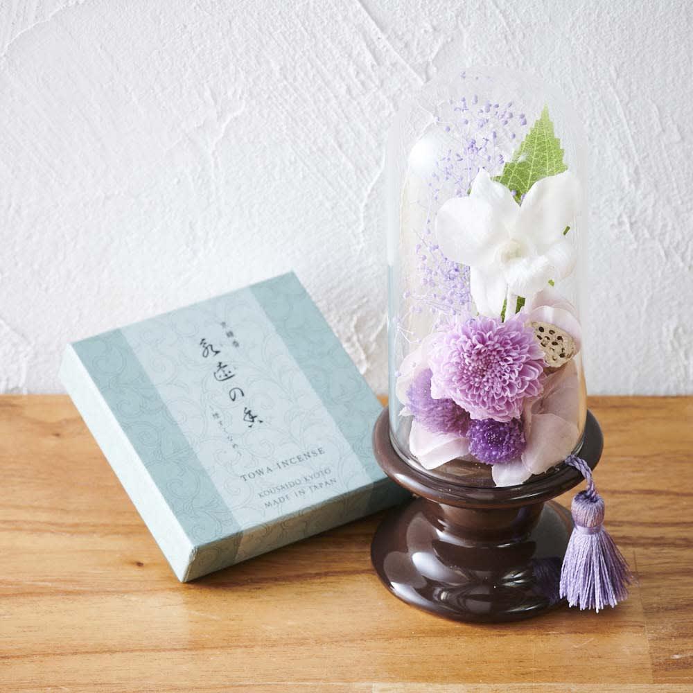 ミニガラスドーム供花 お線香付き 仏壇仏具