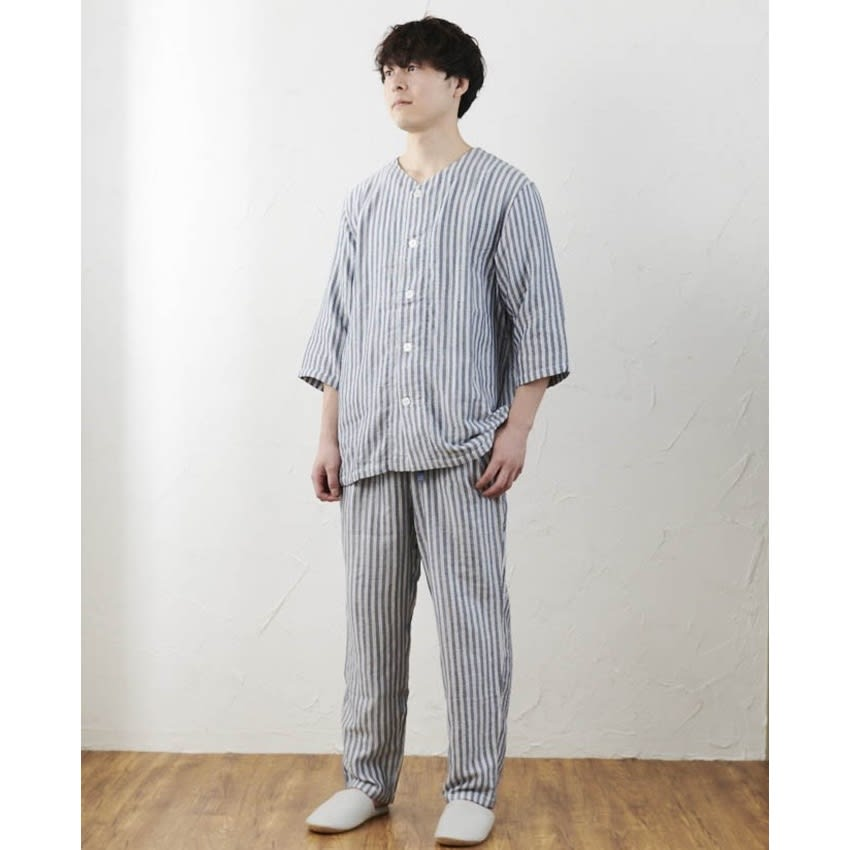 UCHINO/ウチノ マシュマロガーゼ メンズ七分袖パジャマ ダークブルー M~XL メンズファッション