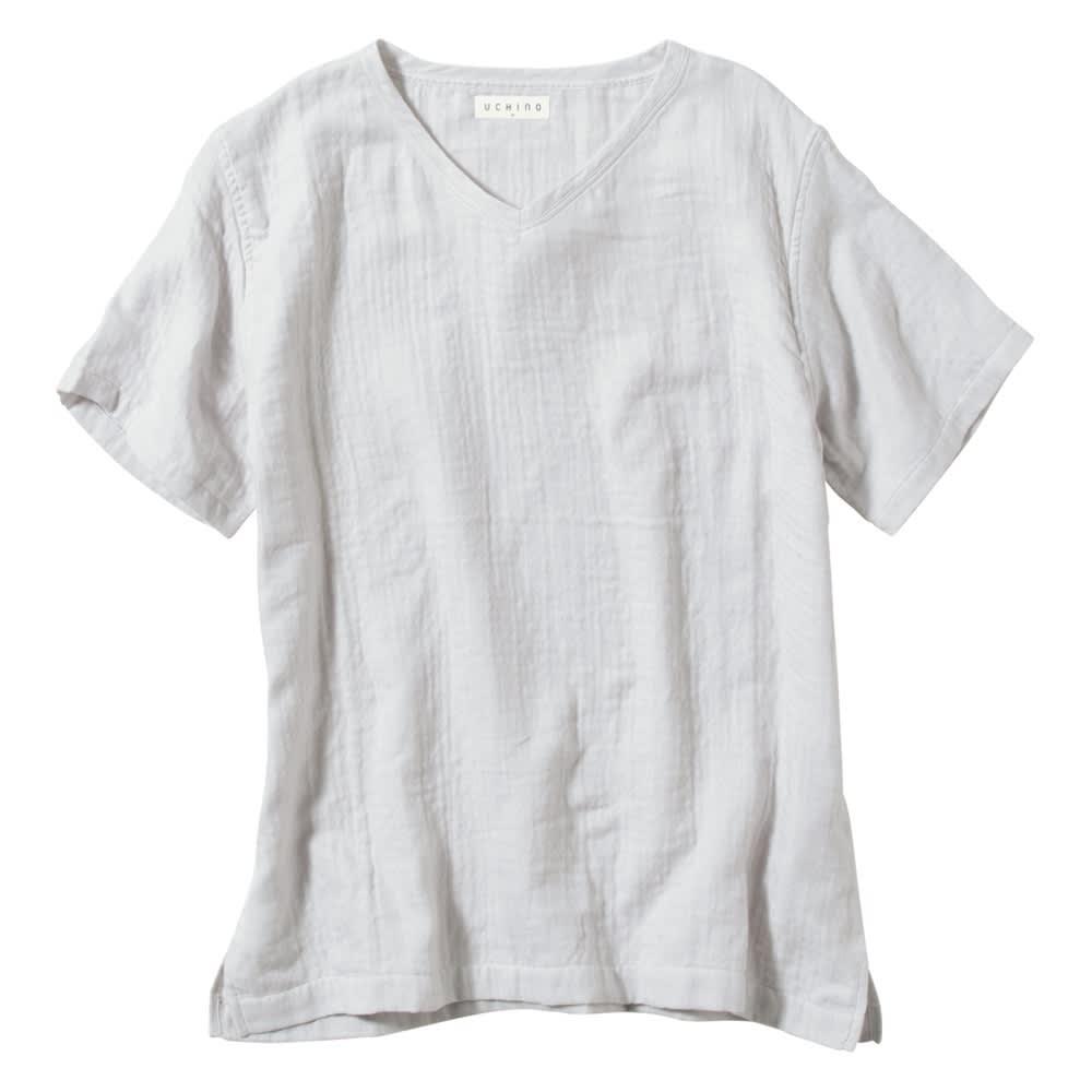 マシュマロガーゼ メンズルームウェアTシャツ ライトグレー M~XL Tシャツ・トレーナー
