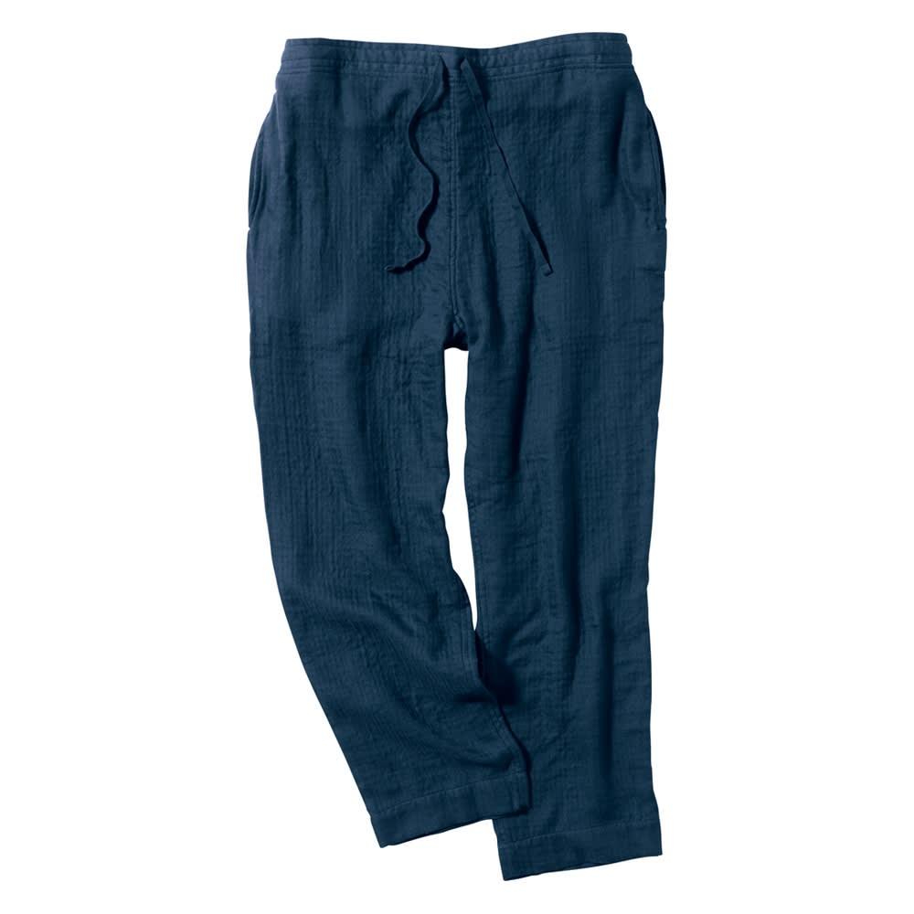 マシュマロガーゼ ルームウェアパンツ メンズ ダークブルー/ダークグレー M~LA デニム・パンツ