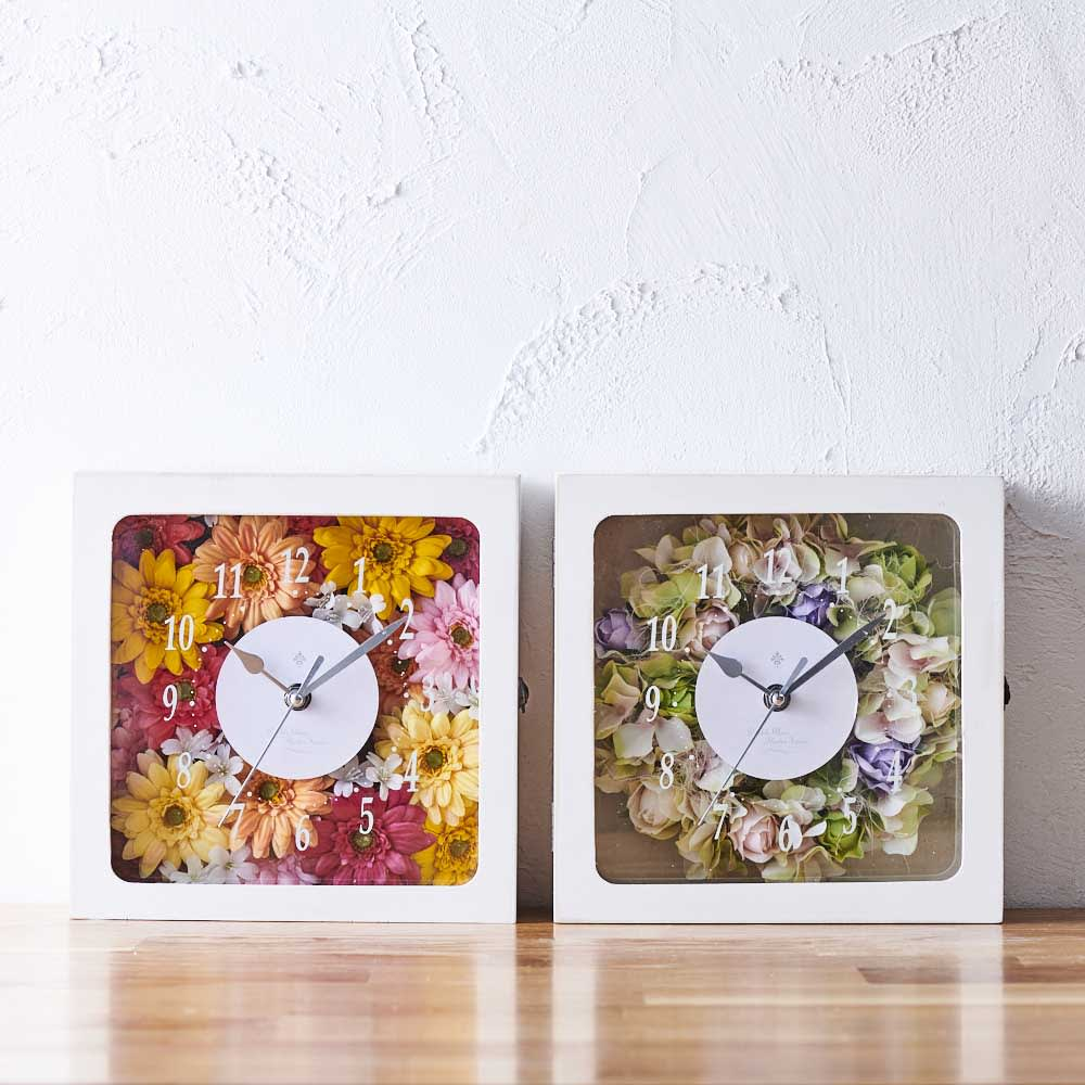 アーティフィシャルフラワー入り時計 ガーベラ/ローズ 置き時計・目覚まし時計