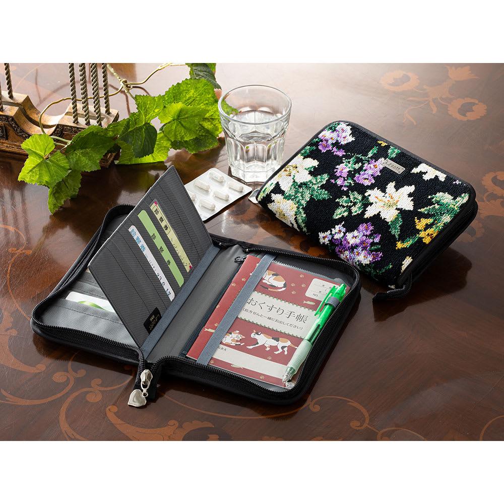 バッグ 靴 アクセサリー 財布 ケース ポーチ シェニール織 お薬手帳ケース GF1757
