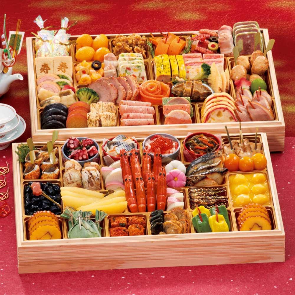 【特典付き】ふく吉 お集まりおせち「祭り膳」 和洋2段重(約6~8人前) 全60品 FK3705