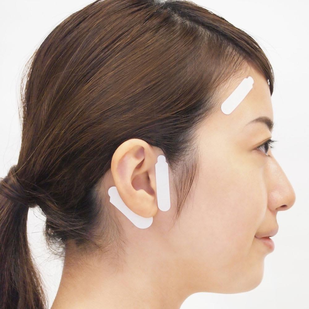 かづきれいこ デザインテープ(イージータイプ) (使い方DVDなし) 【テープを貼る基本の位置】耳の後ろに太いテープ・耳の前に細いテープ・こめかみから額に細いテープ