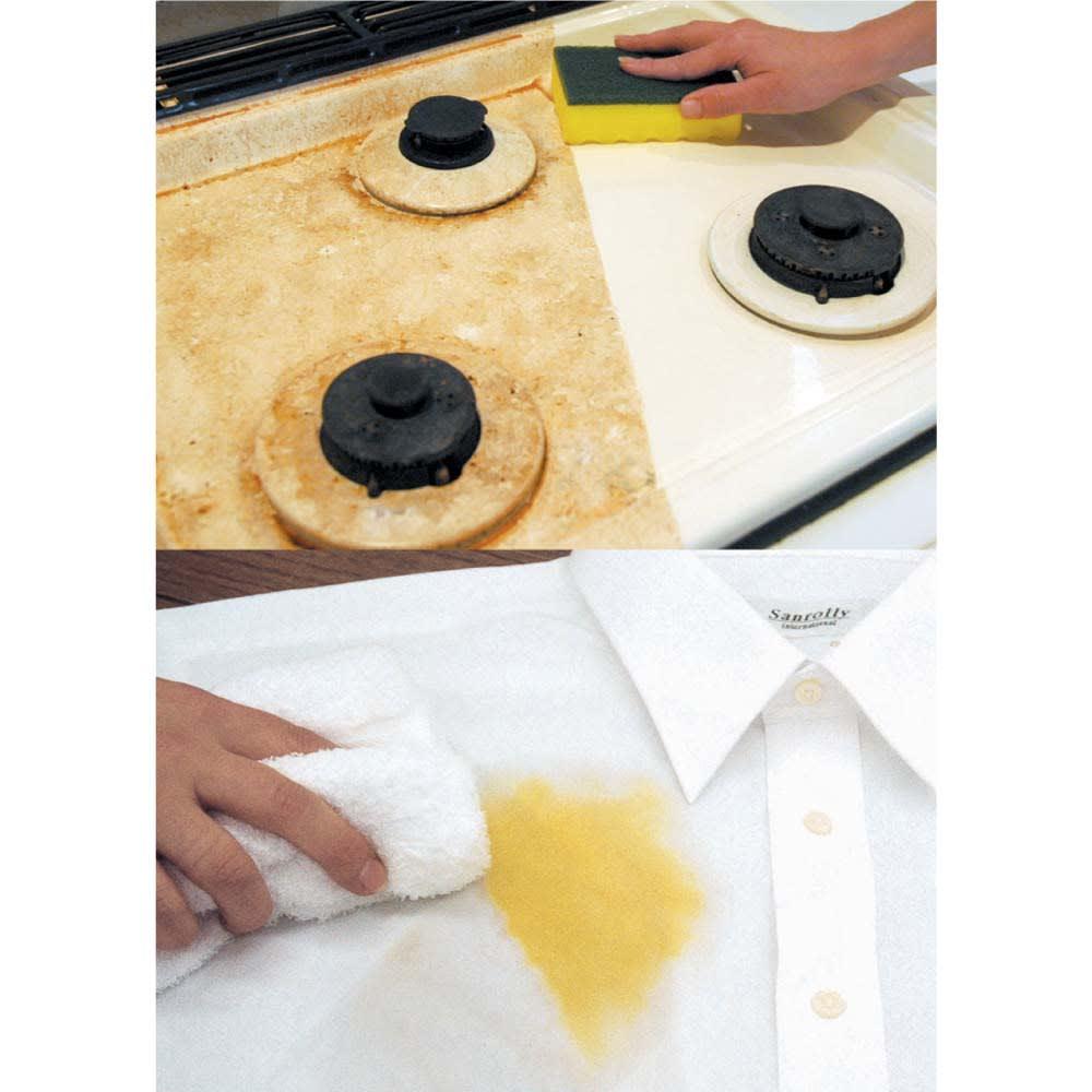 スーパーアミロン 5L(ホワイトラベル) [上]ガスコンロに飛び散った油汚れもすっきり。 [下]衣類についた油性・水性の染み抜きにも!