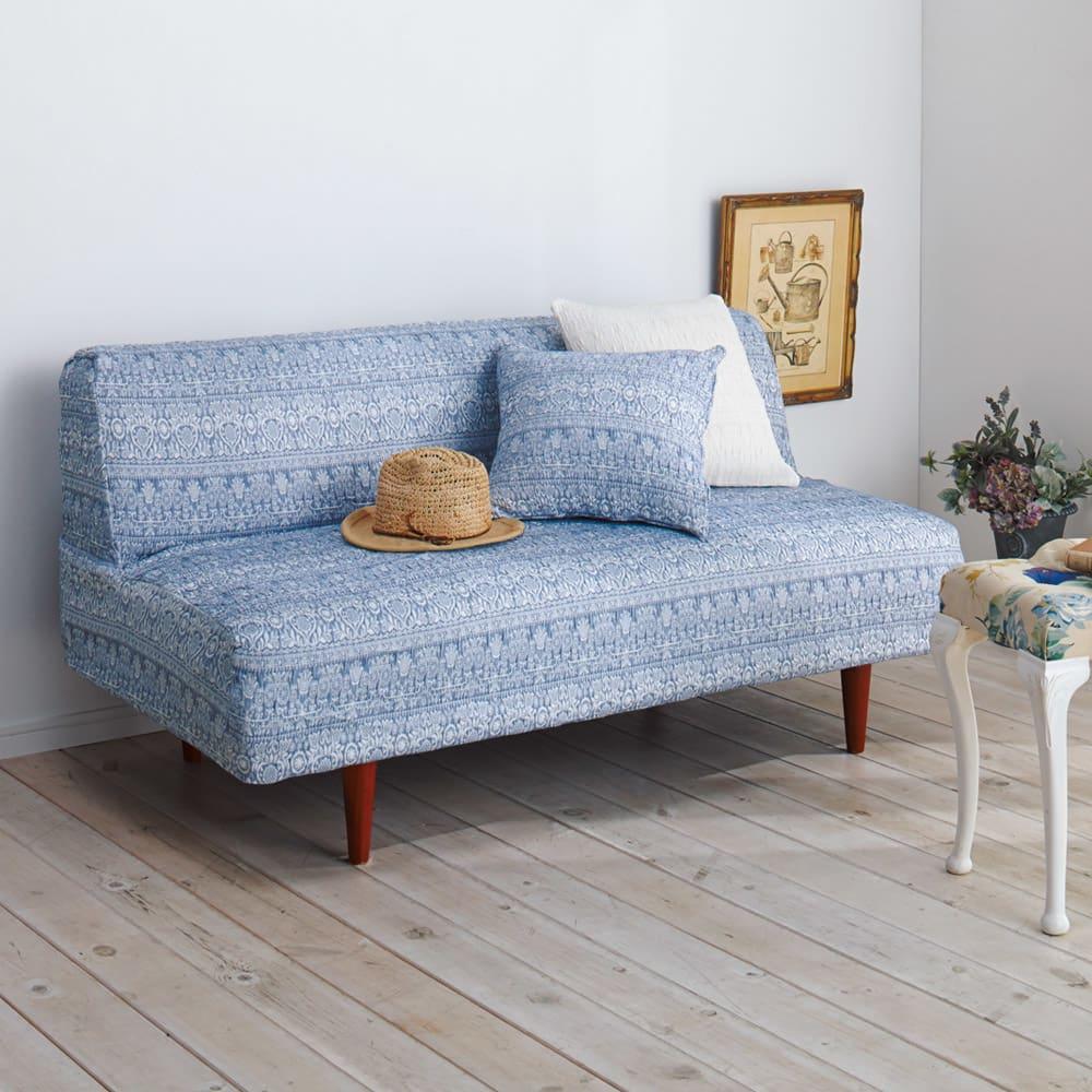 スペイン製フィットカバー「カーシャ」 ソファカバー アームなし (エ)ブルー ※写真は2.5~3人掛用です。クッションは商品に含まれません。
