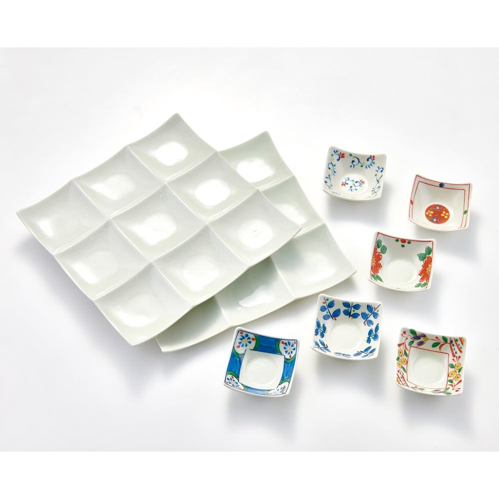 オードブルプレートセット 柄付き オードブルプレート2枚+柄付小皿6枚セット 小皿が華やかな柄付きタイプ。