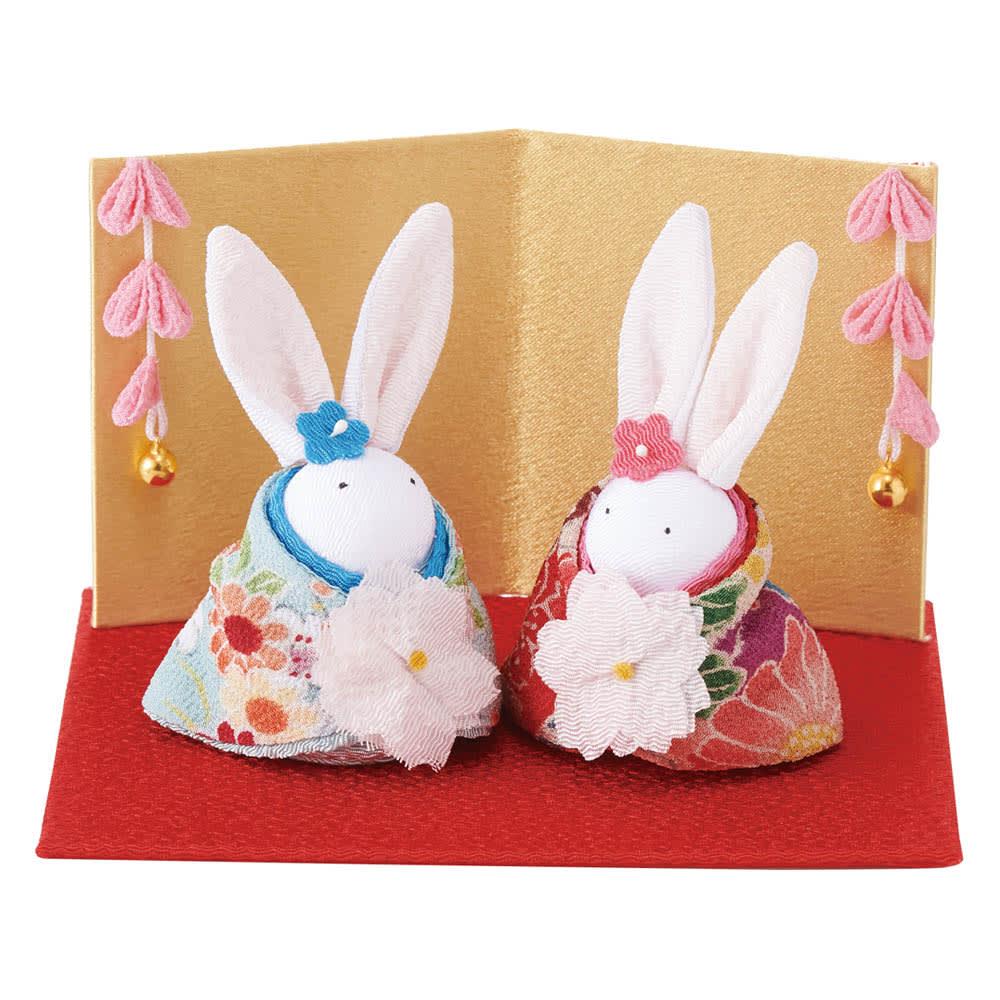 〈京都 夢み屋〉ちりめんひな飾り 兎雛単品 ころんとした可愛らしいフォルムの雛人形です。
