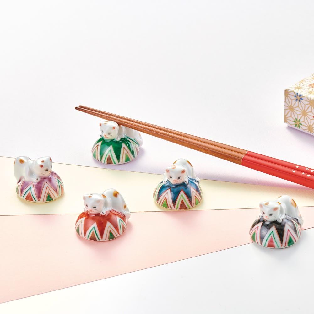 五色まり猫箸置きセット 箸・箸置き