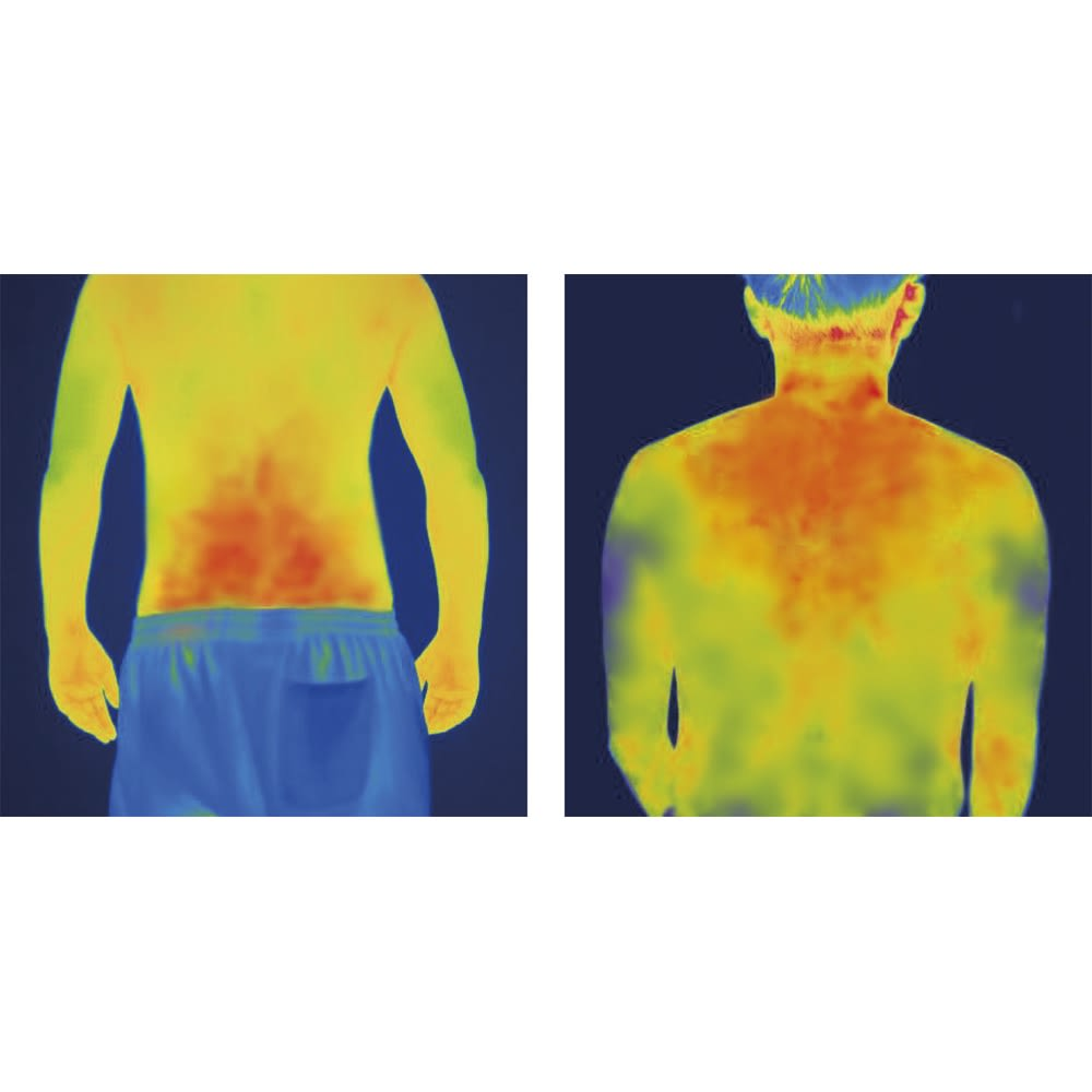 コラントッテレスノ スイッチングウェア 休息専用ルームウェア コラントッテを着用した際のサーモグラフィ画像。磁石部分だけのピンポイントではなく、広範囲にわたって血行が促進されているのがよくわかる。