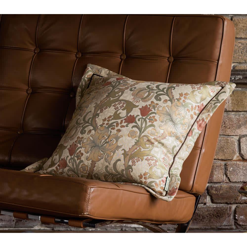 モリス ジャカード織 クッションカバー 〈 ゴールデンリリーマイナー 〉45×45cm用 (イ)アイボリー系