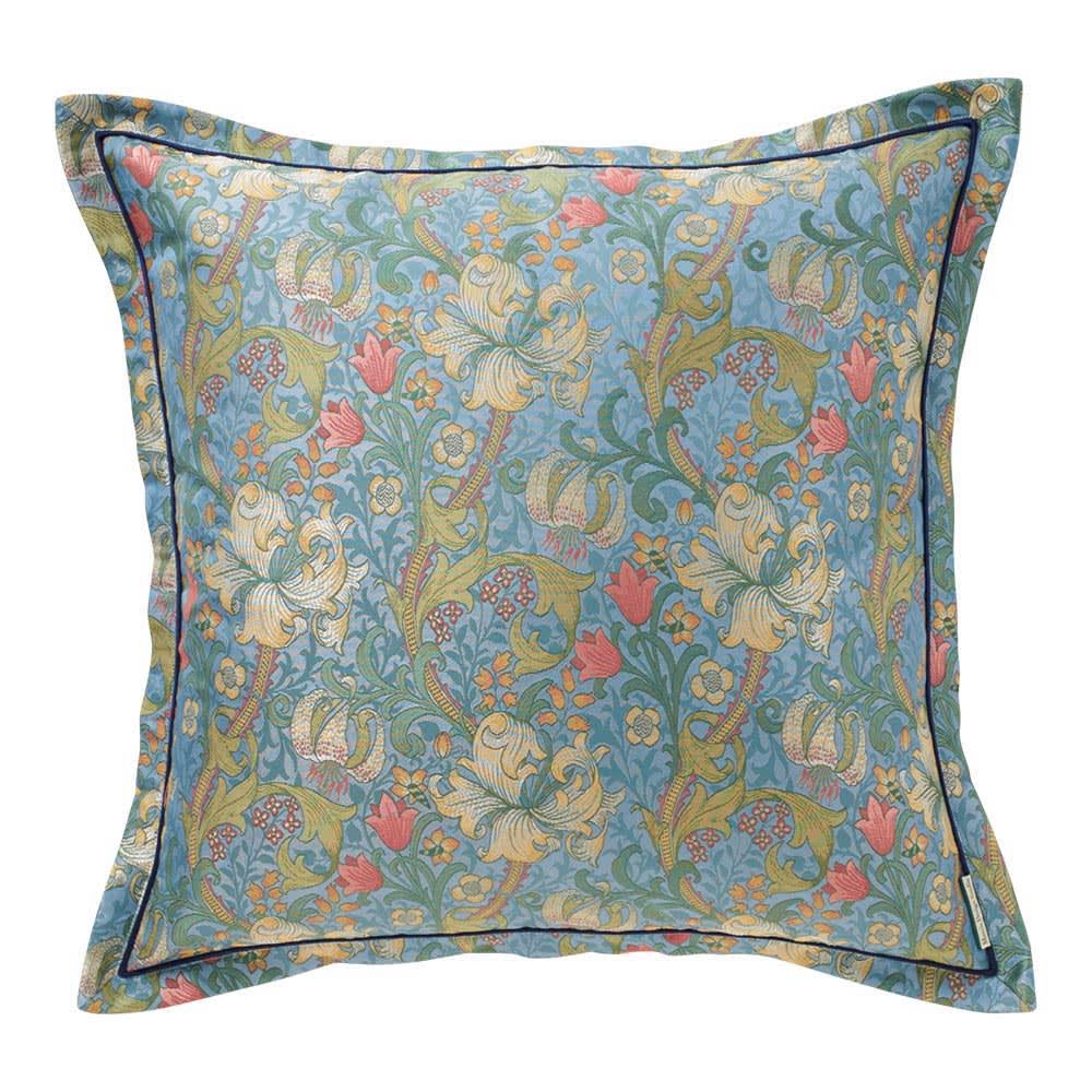 モリス ジャカード織 クッションカバー 〈 ゴールデンリリーマイナー 〉60×60cm用 (ア)ブルー系