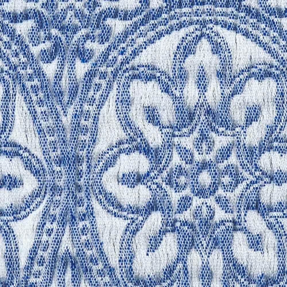 スペイン製ソファカバー〈タイル〉アーム付き [素材アップ](ア)ブルー
