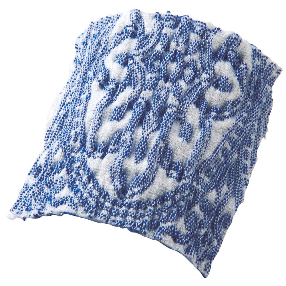スペイン製ソファカバー〈タイル〉アームなし (ア)ブルー 緻密な織り柄を表現した、サラッとして肌触りのよいヨコストレッチ素材。