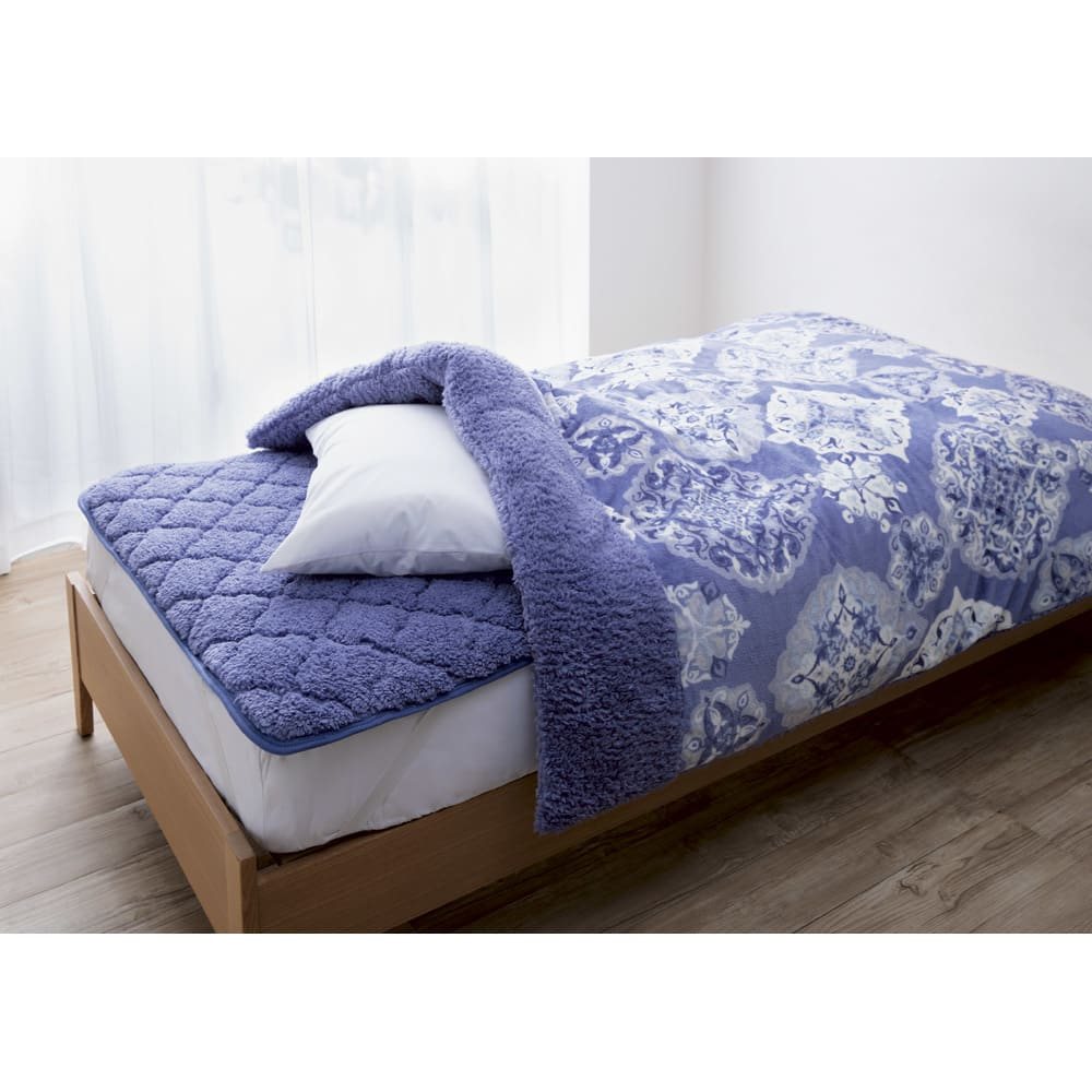 布団の老舗・西川 毛布仕立て布団カバー(ダブル) (イ)ブルー ※お届けは布団カバーです。敷きパッドは別売りです。