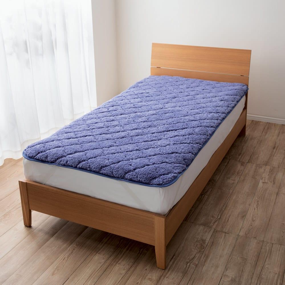 布団の老舗・西川 毛布仕立て敷きパッド(ダブル) (イ)ブルー