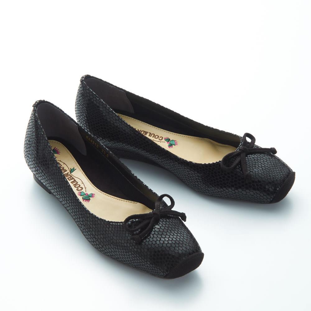 〈クロールバリエ〉NEW洗える軽量バレエパンプス3E (ア)ブラック