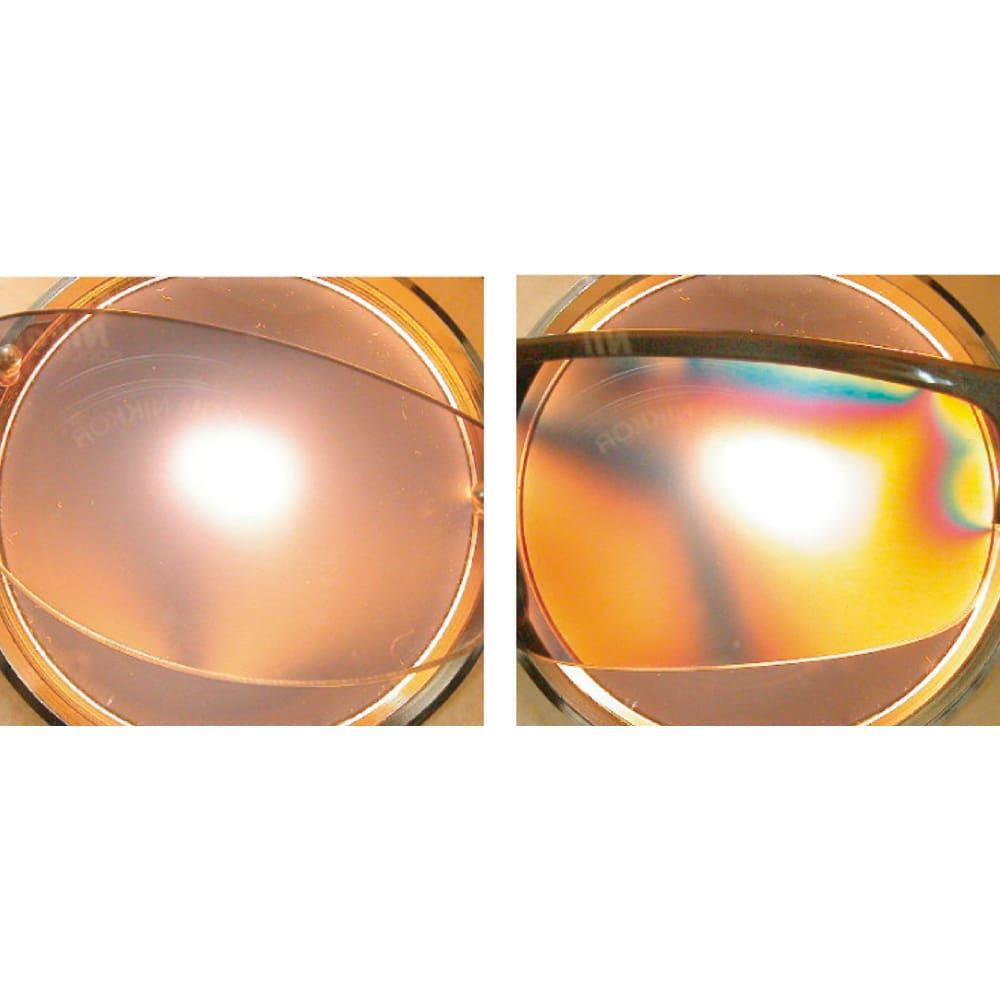 オールタイムサングラス CUTE (右)歪みが大きく、光が乱れるレンズは疲れやすい。(左)ハイドレンズは歪みが少なく、ギラギラ感もありません。