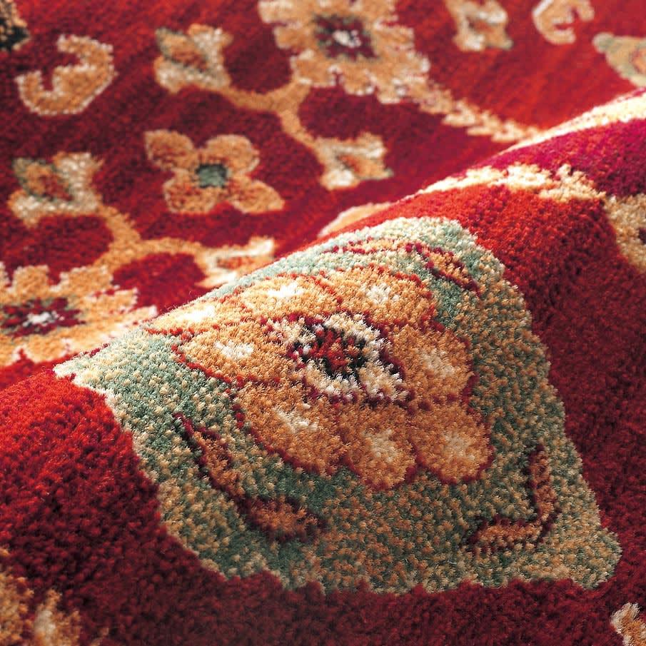 Abbie アビー ウィルトン織ラグ 円形 径約150cm 〈素材アップ〉 ヒートセット加工で遊び毛が出にくく、柔らかい踏み心地。