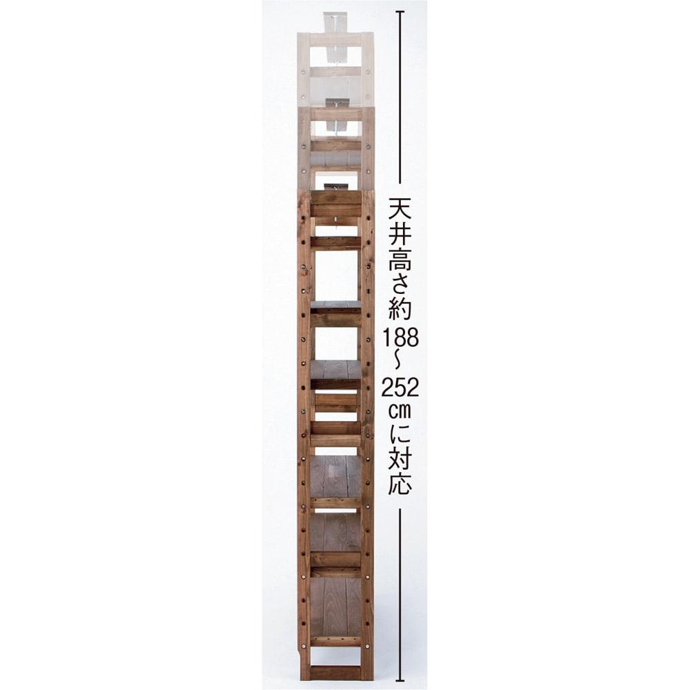 国産檜 頑丈突っ張りシェルフラック 薄型 奥行17cm 幅75cm 天井高さ約188~252cmに対応。 ※写真は幅90奥行29cmタイプです。