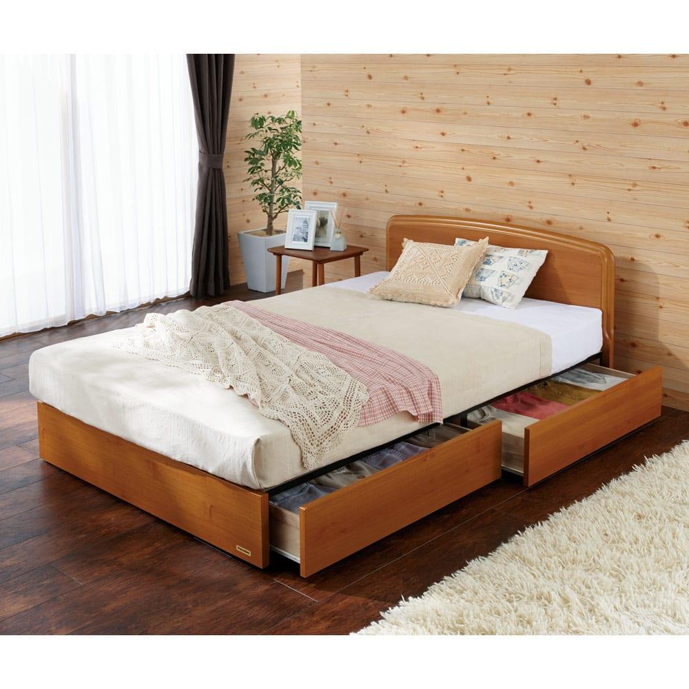 フランスベッド BOX引き出し付ベッド マルチラススプリングマットレス(レギュラーマット)付き (使用イメージ)(ア)ライトブラウン  ※写真はセミダブルタイプです。