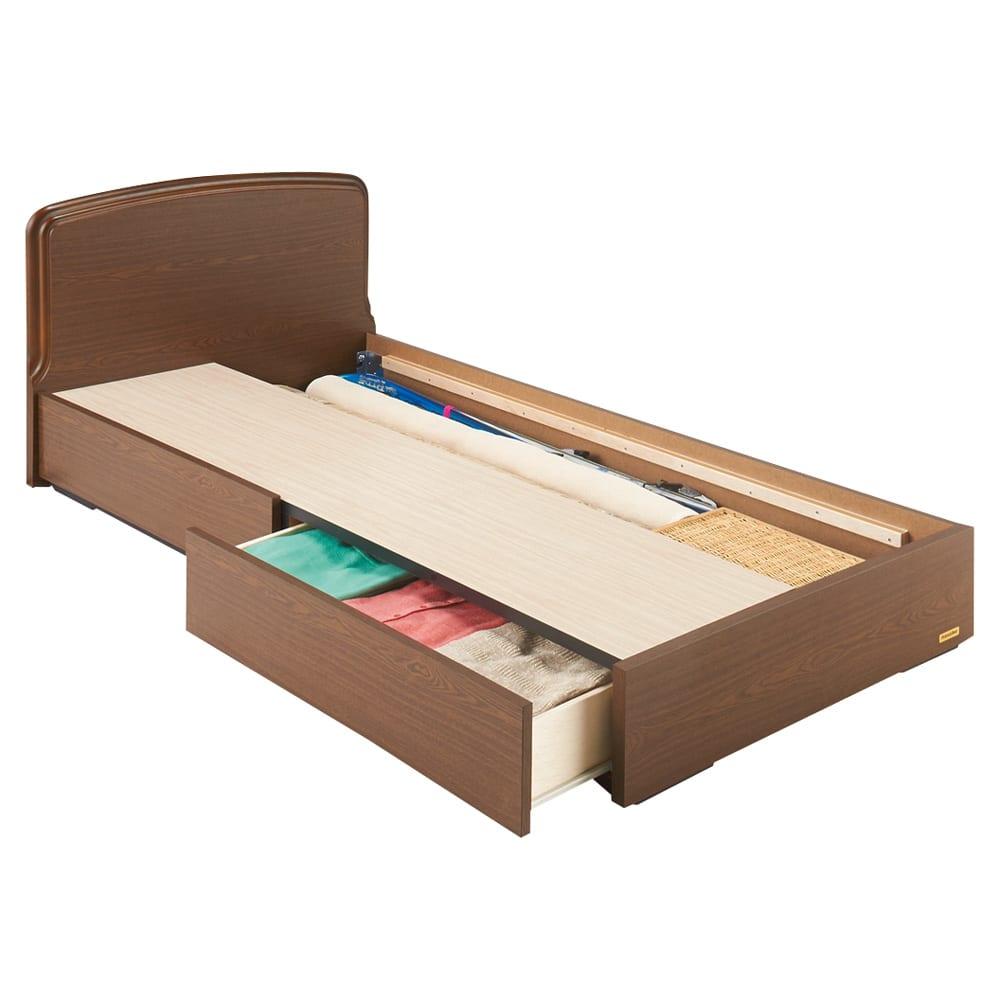フランスベッド BOX引き出し付ベッド マルチラススプリングマットレス(レギュラーマット)付き ≪床板取り外し時≫(イ)ブラウン ※写真はシングルタイプです。