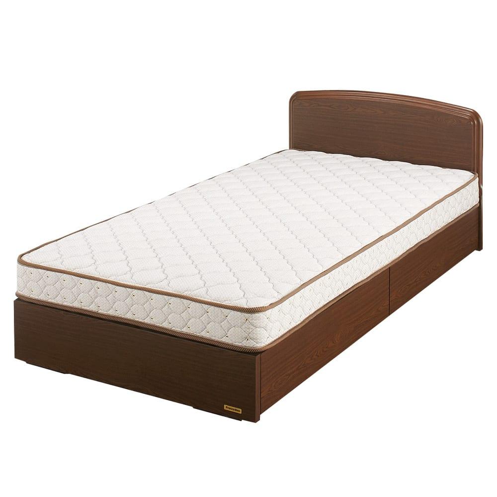 フランスベッド BOX引き出し付ベッド マルチラススプリングマットレス(レギュラーマット)付き (イ)ブラウン ※写真はシングルタイプです。