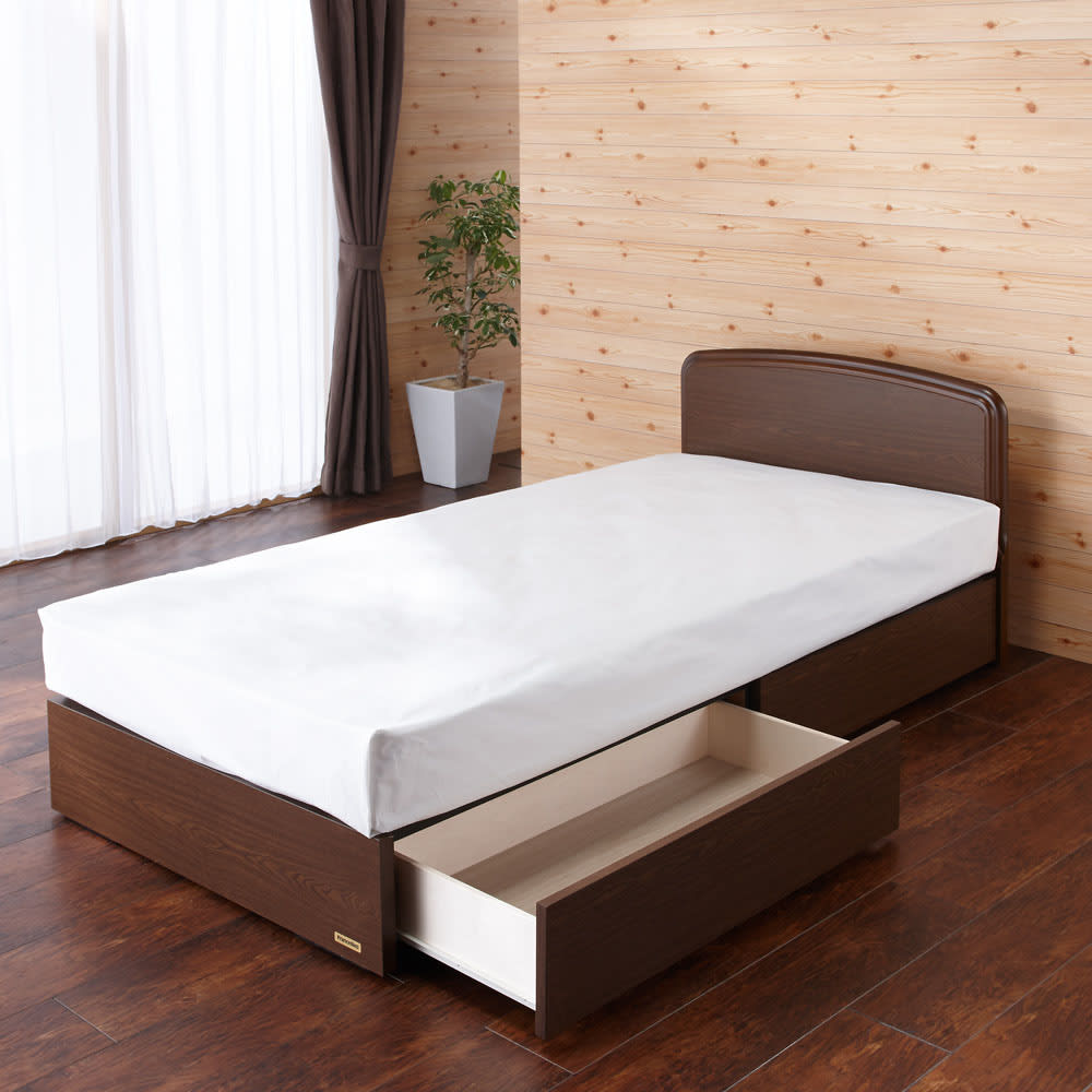 フランスベッド BOX引き出し付きベッド 羊毛綿入りマルチラススプリングマットレス付き (イ)ブラウン 写真はシングルです。