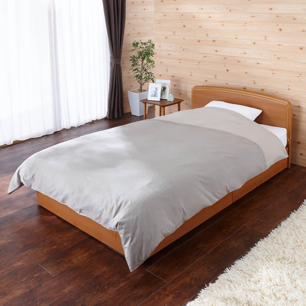 フランスベッド BOX引き出し付きベッド 羊毛綿入りマルチラススプリングマットレス付き 掛け布団・枕使用時イメージ