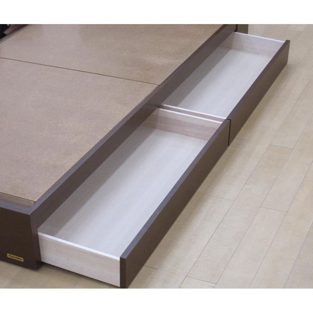 フランスベッド 棚・照明付ベッド マルチラススーパースプリングマットレス付き 便利な引き出し2杯付き