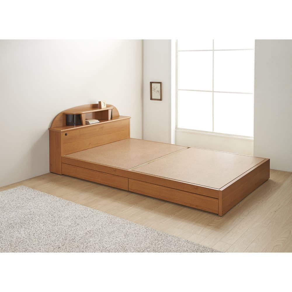 フランスベッド 棚・照明付ベッド 羊毛入りマルチラススーパースプリングマットレス付き (イ)ナチュラル ※写真はセミダブルです。