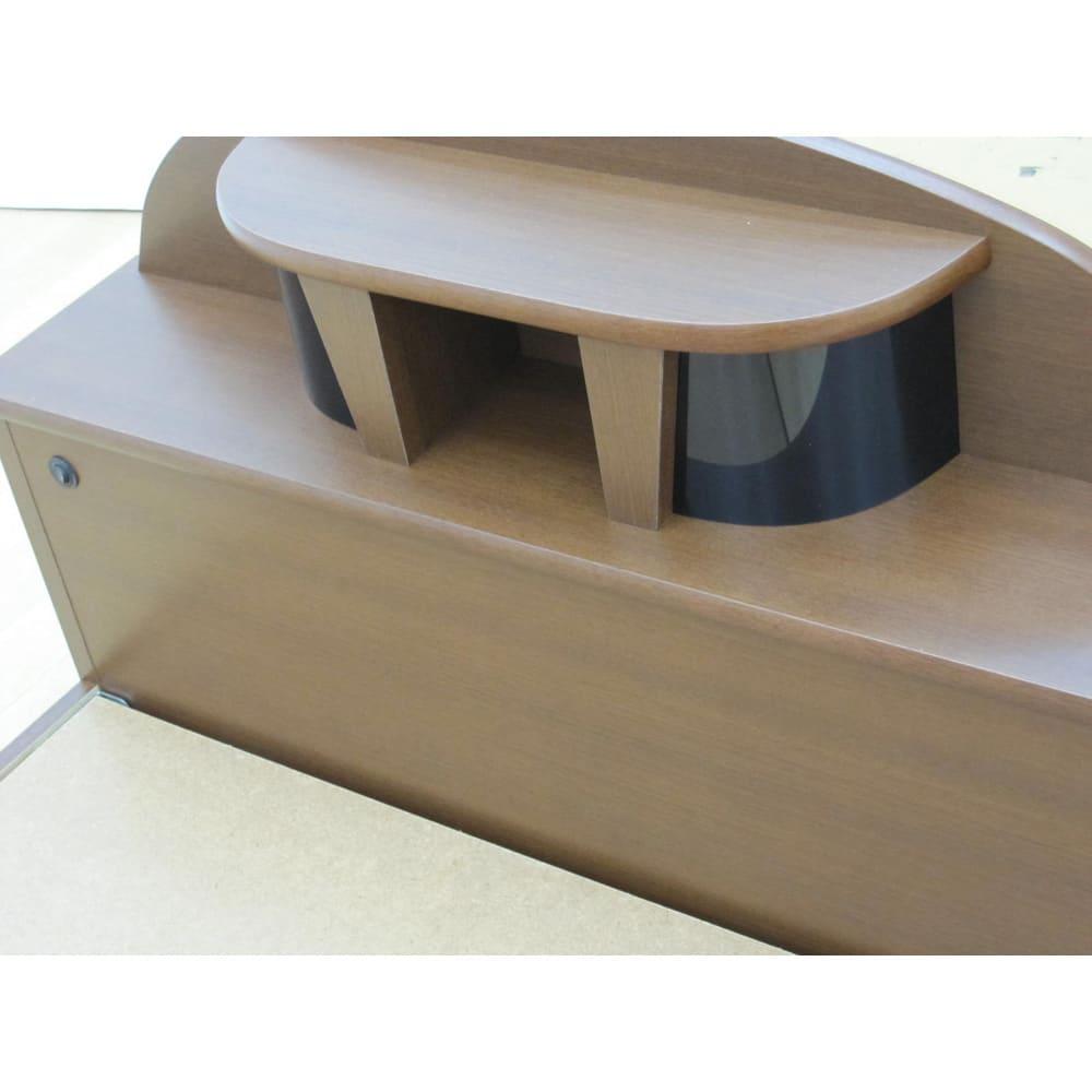 フランスベッド 棚・照明付ベッド 羊毛入りマルチラススーパースプリングマットレス付き ヘッドボード (ア)ブラウン