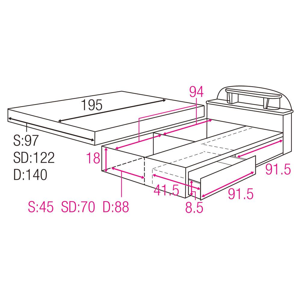 フランスベッド 棚・照明付ベッド 羊毛入りマルチラススーパースプリングマットレス付き 収納部内寸図&マットレスサイズ(単位:cm)