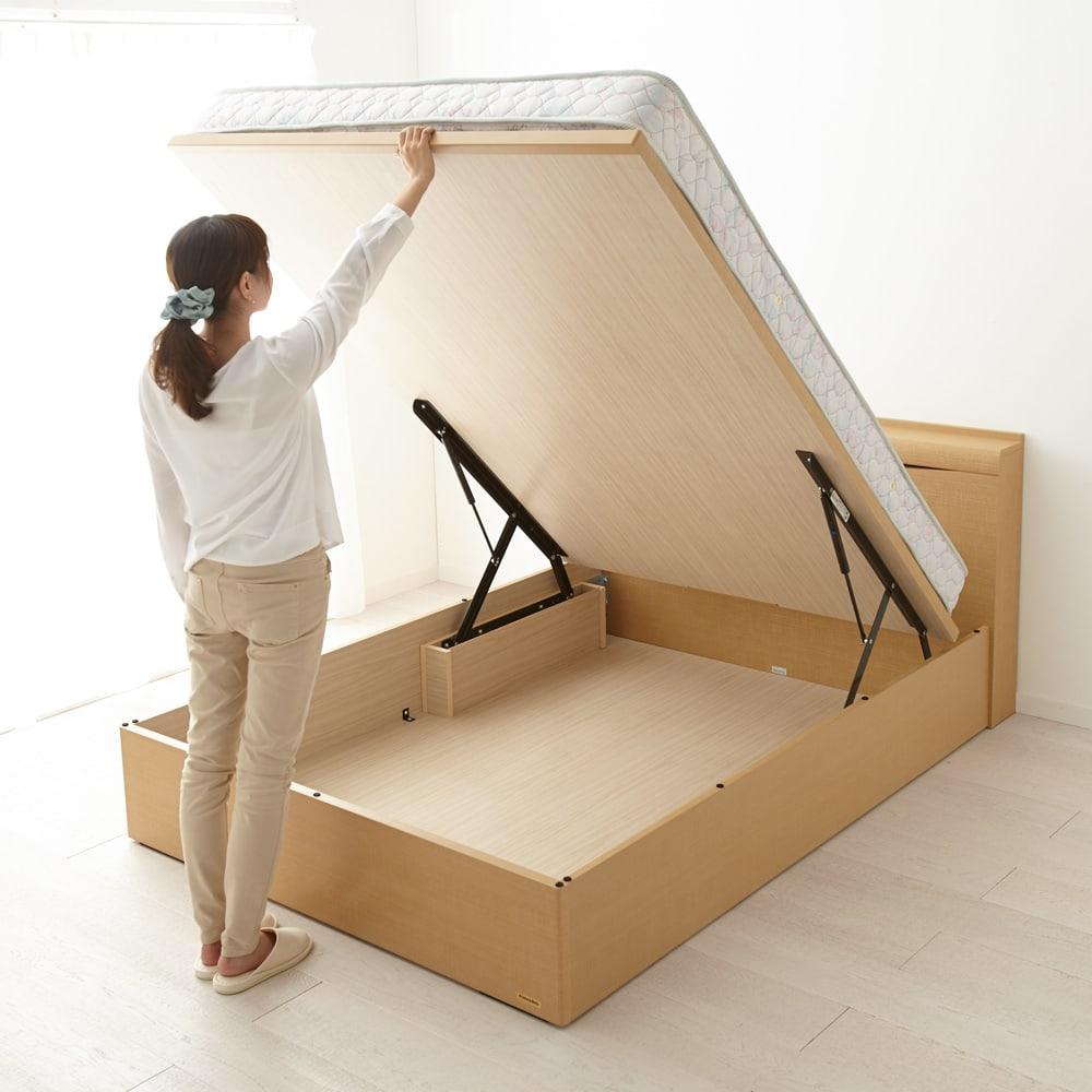 FranceBed(フランスベッド) 棚照明付き跳ね上げベッド 縦開きタイプ