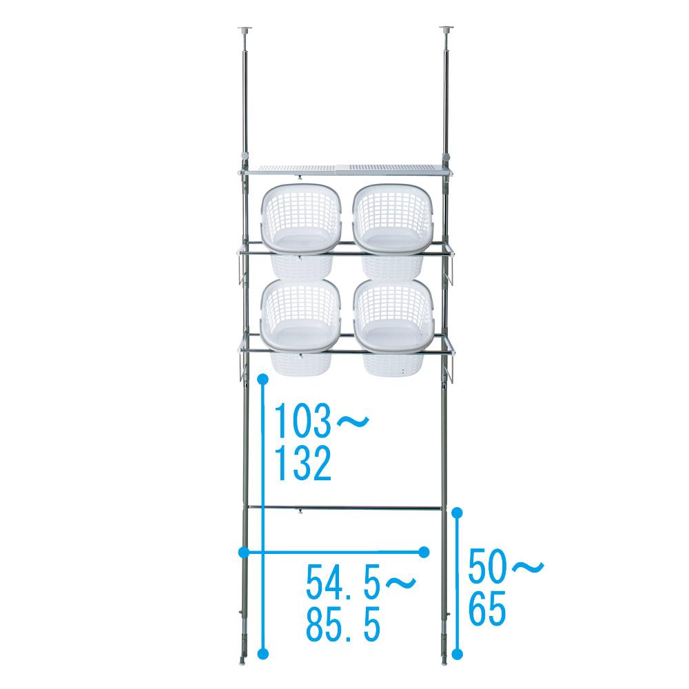 洗濯機パンに収まる 段差対応ランドリーラック 棚1段・バスケット4個 詳細図
