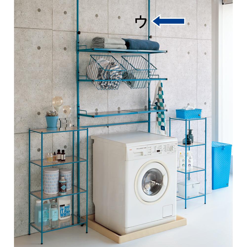Ventol(ヴェントル) ランドリーラック 棚3段 ブルー 洗面所を明るくするカラー。※こちらはバスケット付きタイプの画像となります。