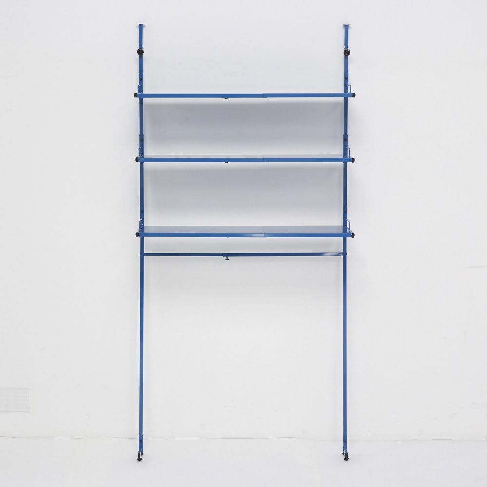 Ventol(ヴェントル) ランドリーラック 棚3段 ブルー 最大幅90cmに広げた状態です。