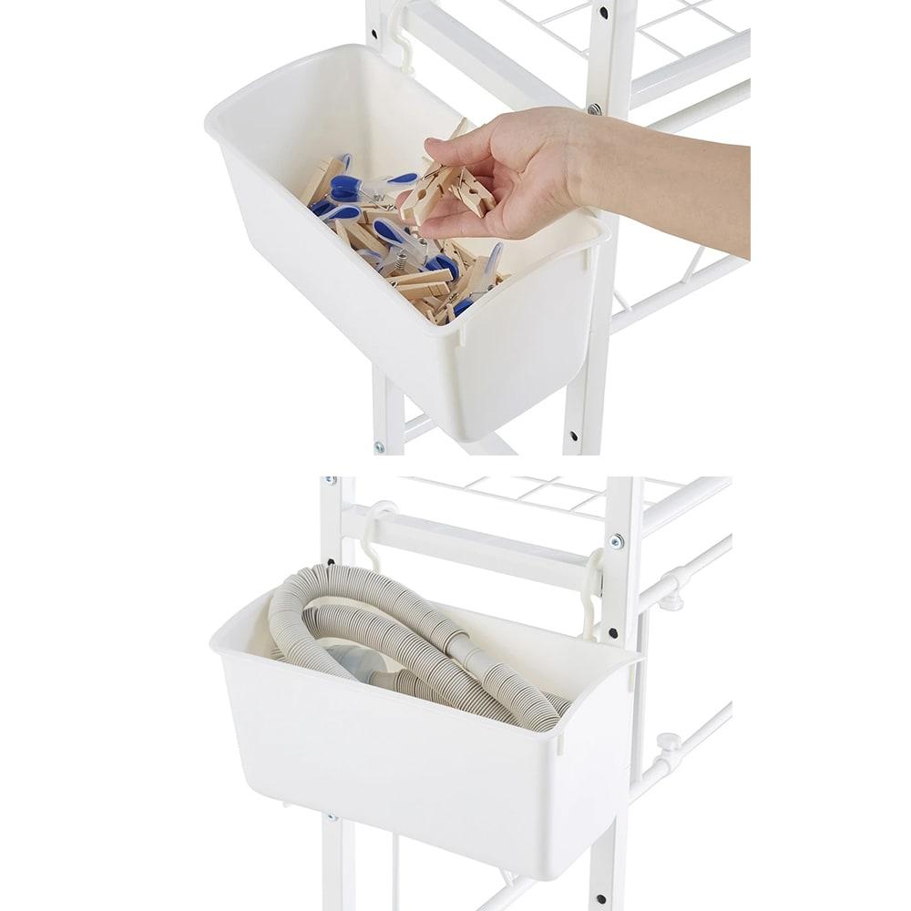 北欧テイストランドリーラック 棚3段 サイドバスケットはホースの収納場所におすすめです。
