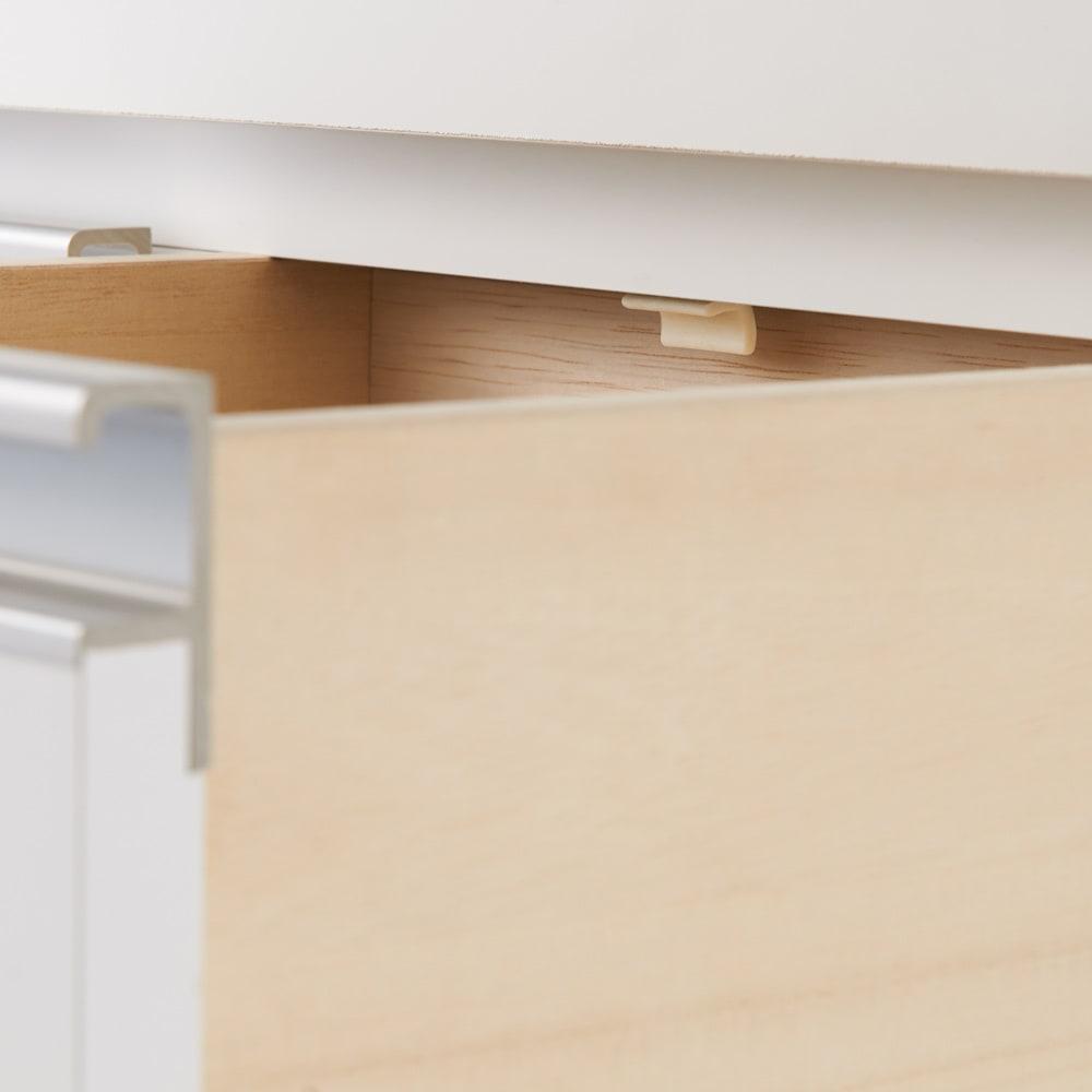 薄型ステンレス天板カウンター 幅120cm 小引き出しには滑り落ちない様にストッパー付き。