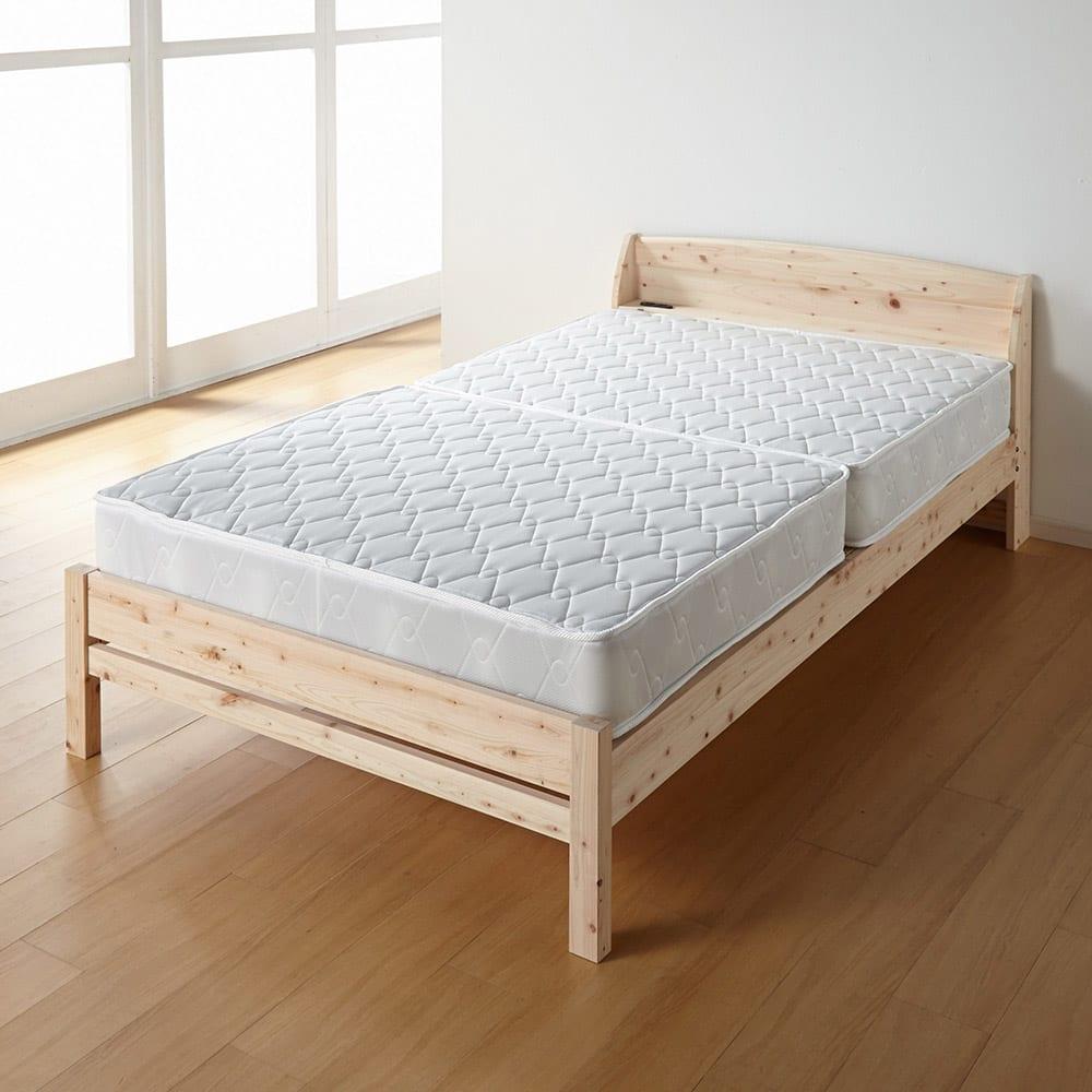 国産無塗装ひのきすのこベッドフレーム(すのこ板4分割) ≪床面高さ31cm時≫ 床面を少し低くして、マットレスをのせることもできます。 ※写真はセミダブルサイズです。