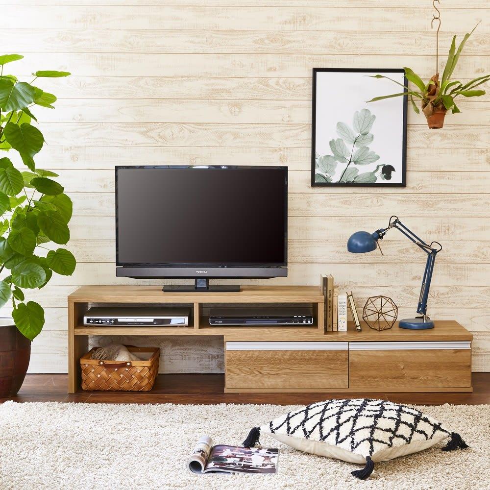 お部屋に合わせてぴったり 伸縮式オープンテレビ台(幅105cm~168cm) 北欧風の木目調が爽やかな空間に。(ア)ブラウン