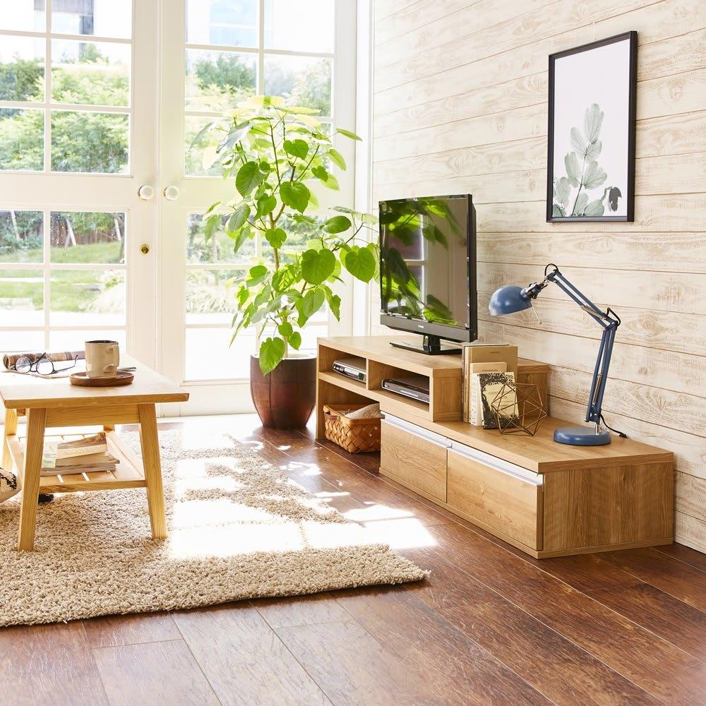 お部屋に合わせてぴったり 伸縮式オープンテレビ台(幅105cm~168cm) ソファの高さから見やすい高さ40cmです。(上段部)
