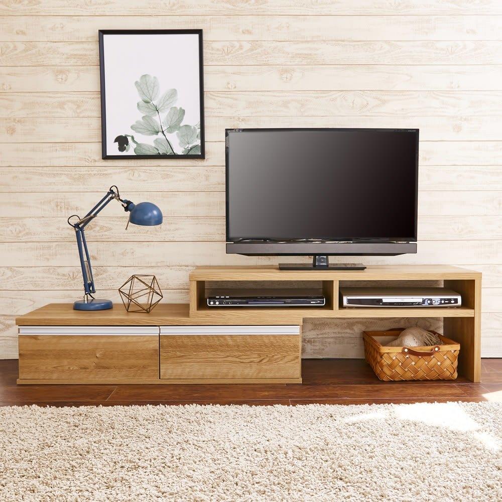 お部屋に合わせてぴったり 伸縮式オープンテレビ台(幅105cm~168cm) 左右どちらでもご使用頂けます。(右伸長時)