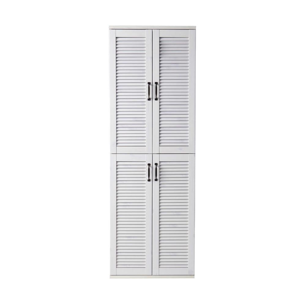 省スペースで快適なルーバー扉シューズボックス(幅60、高さ180cm) (ア)ホワイト