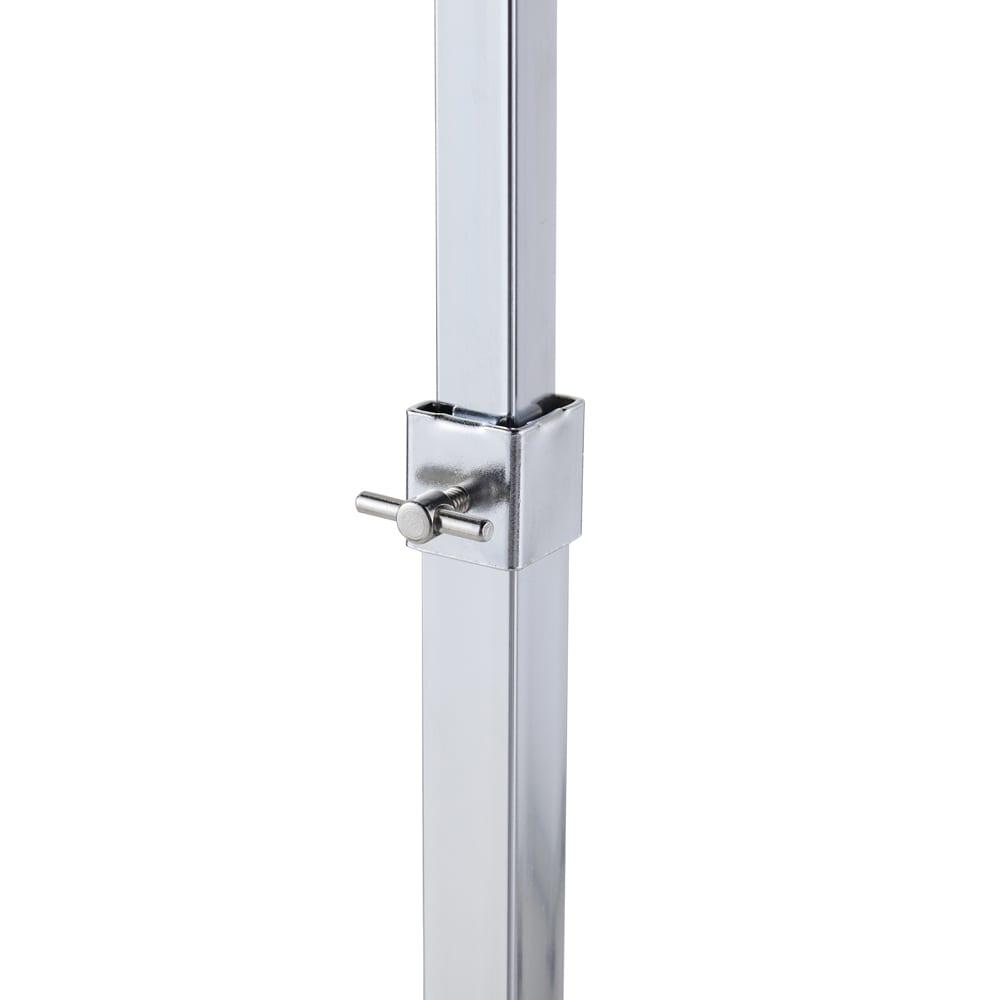 プロ仕様 頑丈ハンガーラック「リモニ」 ダブルタイプ・幅70cm 負荷がかかりやすい中間リングはスチール製。本体に対して摩擦の力を利用して止めているため、バーの高さを変えてもしっかり固定できます。
