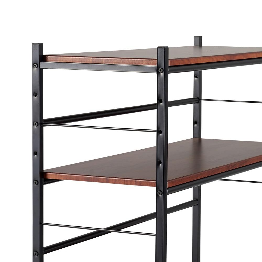 木目調収納ラック幅50cm奥行36cm 棚板は、全ての段が7cm間隔で調整できる仕様です。